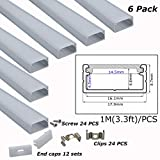Litever 6-Pack 3.3ft/1 Meter 9x18mm U Shape Aluminum Channels With Diffuser, End Caps and Mounting Clips LED Strip Channels for Max 16mm Wide LED Lightstrip Light Mounting--LL-007-M
