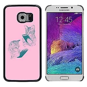 Tiger Animal Rugido Bostezo Lengua Feroz- Metal de aluminio y de plástico duro Caja del teléfono - Negro - Samsung Galaxy S6 EDGE (NOT S6)