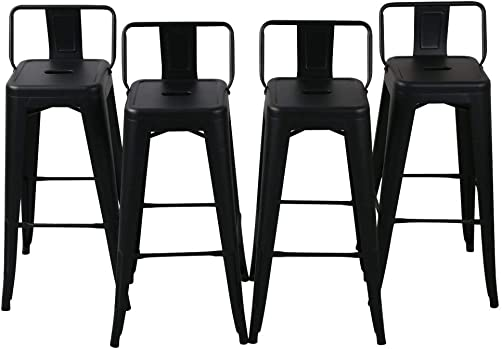 26 inch Metal Barstools Set of 4 Indoor Outdoor with Low Back Counter Height Stool Kitchen Dining Side Bar Chairs Matte Black