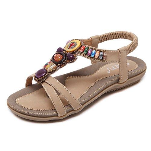 SHIBEVER Summer Flat Gladiator Sandals for Women Comfortable Casual Beach Shoes Platform Bohemian Beaded Flip Flops Sandals Beige-3 8.5 ()