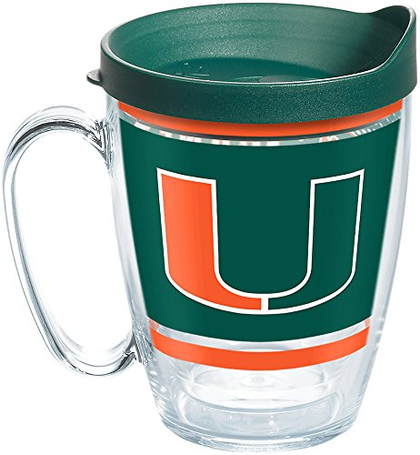 Tervis 1257533 NCAA Miami Hurricanes Legend Coffee Mug with Lid, 16 oz, Clear ()