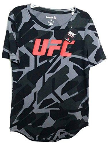 UFC Reebok RBK MMA Black Gray Ladies Women Performance Short Sleeve T-Shirt S – DiZiSports Store