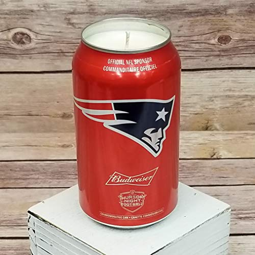 2018 Budweiser Bud NFL New England Patriots Pats Team Football Beer Can Soy Candle with Custom Scent (Can from Canada)