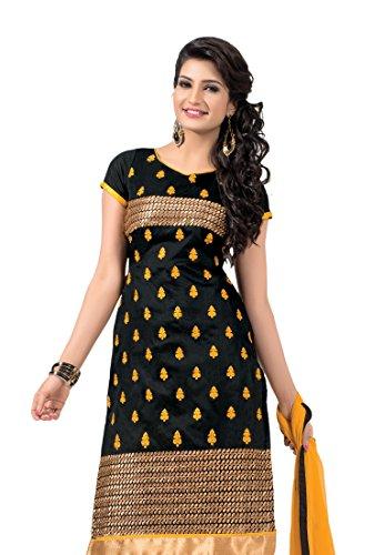 Fabdeal Indian Designer Chanderi cotton Black Embroidered Dressmaterial