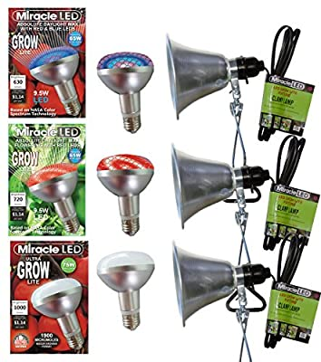 MiracleLED 604973 Mega Grow Commercial Hydroponic Green House LED Bulbs with Clamp Light Fixtures (3 Pack)