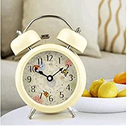 Ayzr Electronic Alarm Clock, Cute Student, Bell, Night Light, Timer, Mini Stereo Pointer Clock,Yellow