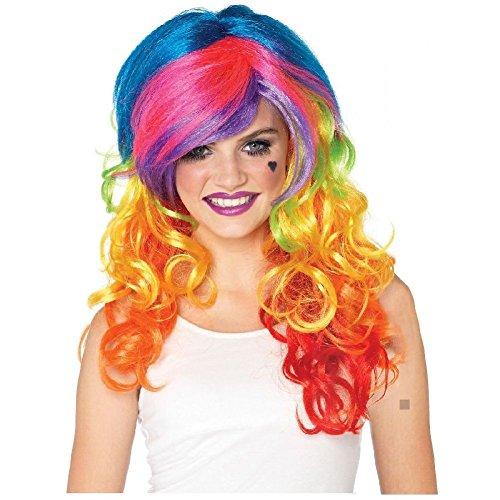 Rainbow Rocker Costume Wig Adult Teen Brite Neon Colors Fantasy Fairy Halloween