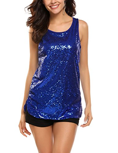 - Zeagoo Women's Sleeveless Sparkle Shimmer Camisole Loose Sequined Vest Tank Tops(1-blue,XL)