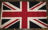United Kingdom UK Great Britain Embroidered Sewn Flag 3'x5′ Cotton Banner with Clips
