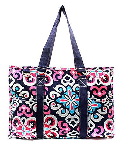 N Gil All Purpose Organizer Medium Utility Tote Bag 2 (Geometric Floral Navy Blue)