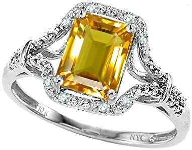 Star K Emerald Cut 8x6 mm Genuine Citrine Ring 10kt Gold