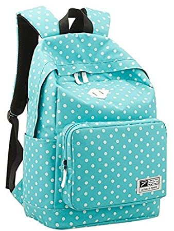 Samaz Women Girls Polka Dot School Backpacks Cute Shoulder Travel School Bags for Teen Girls, Light Blue