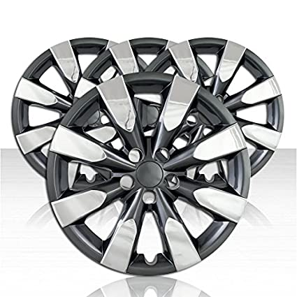 Amazon.com: Auto Reflections Set of 4 Wheel Covers for 14-17 Toyota Corolla 8 Spoke 16 inch - Chrome/Charcoal: Automotive