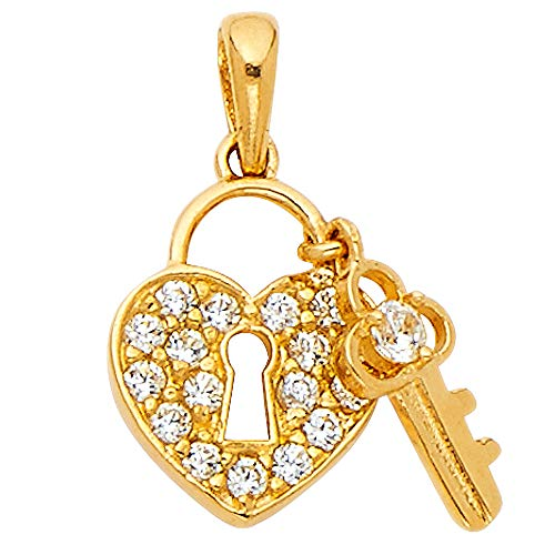 Wellingsale 14K Yellow Gold Polished Ornate Heart Lock & Key Charm Pendant with CZ Accent