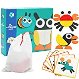 Wooden Figure Building Blocks Family Game Toys Preschool Children's Puzzle Children Boys and Girls 3 Years Old or Older (Animal)