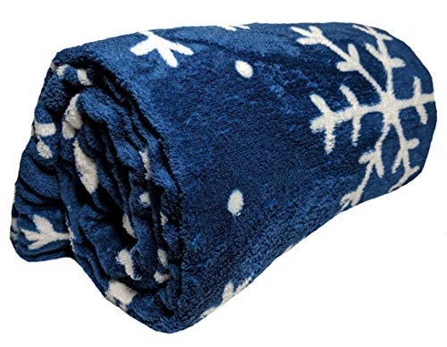 JustHome Fun Print Soft Cozy Lightweight 50 x 60 Fleece Throw Blanket (Navy with White Snowflakes)