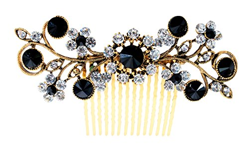 Vogue Hair Accessories Exclusive Collection Wedding Party Fancy Bridal Comb Hair Clip (Black)
