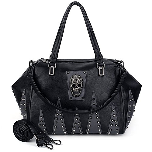 Skull Style Washed Ladies Bag Shoulder 13 Purse Black PU Bag UTO Women Studded Rivet Tote Leather fw6q65a