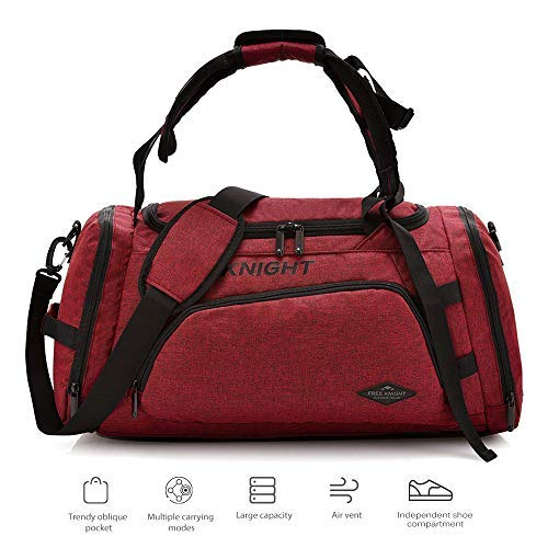 3 in 1 Gym Duffle Bag Waterproof Travel Weekender Bag for Men Women Duffel Bag Backpack with Shoes Compartment Overnight Bag 35L (Wine Red) [並行輸入品] B07R3Z5YGB