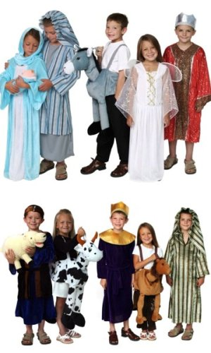 Holiday Christmas Nativity Scene Pageant Costumes Dressup Complete Set Mary Joseph Baby Jesus Animals Wisemen Angel Shepherd Assorted Sizes