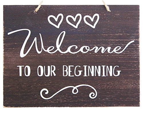 JennyGems Welcome To Our Beginning Sign - Wedding Sign - House Warming - Rustic Welcome Sign - Wooden Home Signs - Housewarming Gift - Farmhouse Decor, Shabby Chic, Front Door Decorations Destination Rehearsal Dinner Invitations