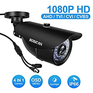BOSICAN 1080P 1920TVL Bullet Security Camera, 2.0 Megapixel Hybrid HD 4-in-1 TVI/CVI/AHD/CVBS Waterproof Outdoor Surveillance Camera (Black -1080P 4 in 1 Bullet camera-6546)