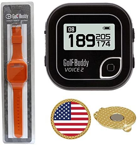 GolfBuddy Voice 2 Golf GPS/Rangefinder (40k+ Preloaded Worldwide Courses) Bundle with Wrist Band and Magnetic Hat Clip Ball Marker (USA Flag)