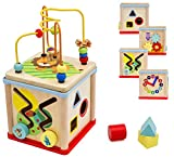 Pidoko Kids Wooden Activity Cube for Toddlers - Fun Learning & Educational Toy Gift for Baby Boys...