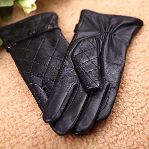 WARMEN Modische Damenlederhandschuhe aus echtem Nappaleder mit Karomuster-Steppung und Schnallenverschluss Schwarz