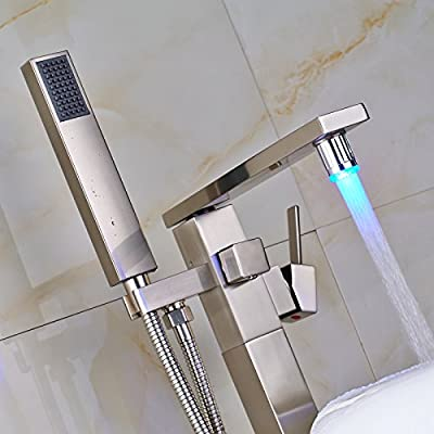 Zovajonia LED Light Single Lever Floor Mounted Tub Filler Shower Faucet with Hand Sprayer Head Brushed Nickel