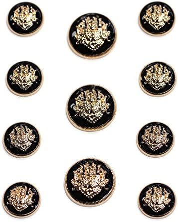 1 Dozen Gold and Epoxy Button Gold and Black Vintage Shank Buttons-A422 with Clear Epoxy  and Black Epoxy center
