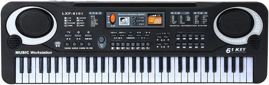 Kalaok 61 Teclas Negro Música Digital Teclado Electrónico Teclado Teclado Piano Eléctrico Regalo para Niños Instrumento Musical
