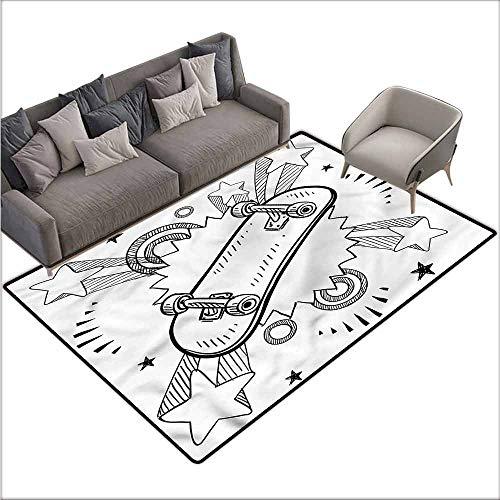 Outdoor Floor Mats Doodle,Skateboard Pop Art Style 48