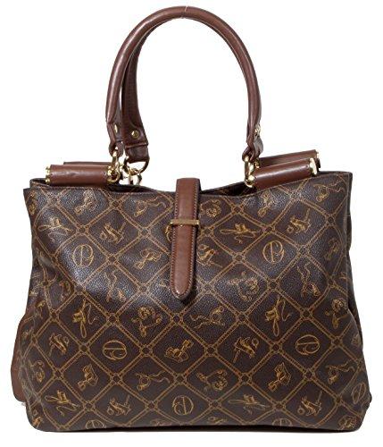 Maraca - eleganter Shopper Damenhandtasche runde Tragegriffe All-over Muster Print ca. 14x27x5 cm (B x H x T)