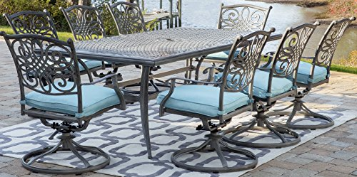Hanover TRADDNG9PCSW8-BLU Traditions Outdoor Dining Set, Blue