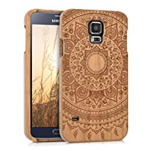 kwmobile Natural wood case with Design Indian sun for the Samsung Galaxy S5/S5 Neo/S5 LTE+/S5 Duos in cherrywood Brown