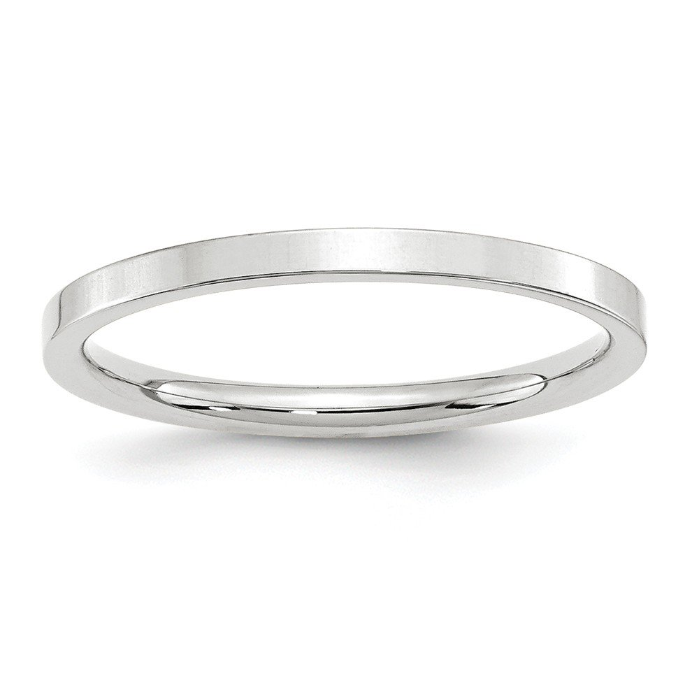 14K White Gold 2mm Standard Flat Comfort Fit Band Ring