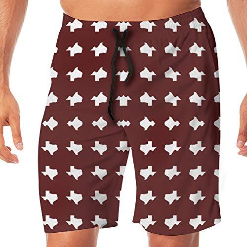 Texas A&M School Color Print Wallpaper Men's/Boys Casual Swim Trunks Short Elastic Waist Beach Pants with Pockets