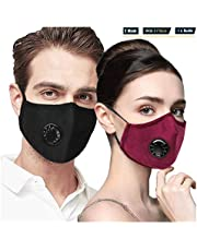 Anti Air Dust and Smoke Pollution Mask Washable PM2.5 Masks - Carbon Activated Face Mask, Cotton Washable Respirator Breathing Mask with Adjustable Straps & Exhalation Valve for Men Women (Red+Black)