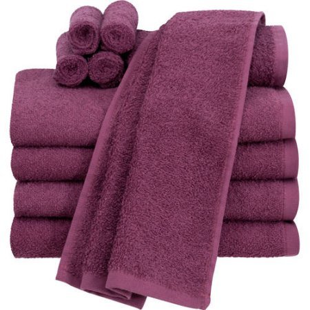Mainstays Value 10-Piece Towel Set, Cotton Material, Raspberry Color (Towel Playboy Beach)