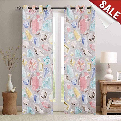 (Pastel, Waterproof Window Curtain, Colorful Diamond Gemstone Figures Rich Feminine Women Fashion Theme Digital Print, Room Darkening Wide Curtains, W72 x L84 Inch Multicolor )