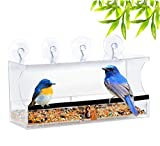 window bird feeder one way mirror - Large Window Bird Feeder by Entirely Zen Includes 2 Way Mirrored Film + 5 Strong Suction Cups, Upgraded 2018 Design For 100% Clear Wild Bird Viewing, Raised Seed Tray For Fresher Food, Great Gift