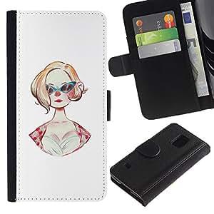 JackGot ( Gafas de sol 50S Moda Peinado Pin Up Dress ) Samsung Galaxy S5 V SM-G900 la tarjeta de Crédito Slots PU Funda de cuero Monedero caso cubierta de piel