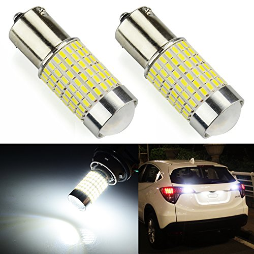 JDM ASTAR 1200 Lumens Extremely Bright 144-EX Chipsets 1156 1141 1073 7506 LED Bulbs with Projector For Backup Reverse Lights, Xenon White
