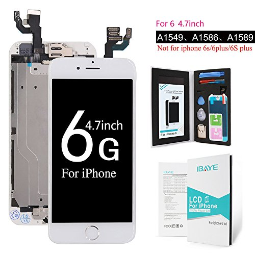 Price comparison product image iPhone 6 LCD Screen Replacement - For White 4.7 inch Full Front Camera + Home Button +Ear Speaker + Facing Proximity Sensor + Repair Tools