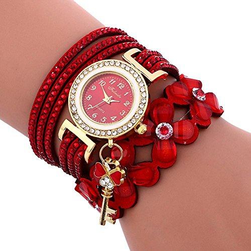 Women's Watch, Ruhiku GW Fashion Chimes Diamond Leather Bracelet Lady Womans Wrist Watch (Red)