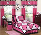 Sweet Jojo Designs 3-Piece Girls Soccer Children's Bedding Full / Queen Set