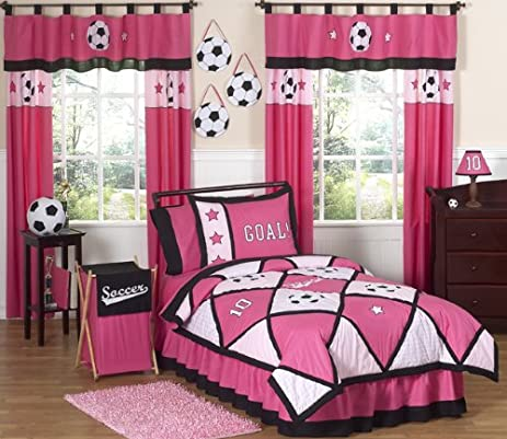 Amazon.com: Sweet Jojo Designs 3-Piece Girls Soccer Children\'s ...