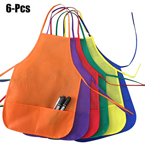 Apron Art Smock,Coxeer 12PCS Kids' Apron Creative Solid Color Non-woven Drawing Apron Art Smock with Front Pockets for Kids