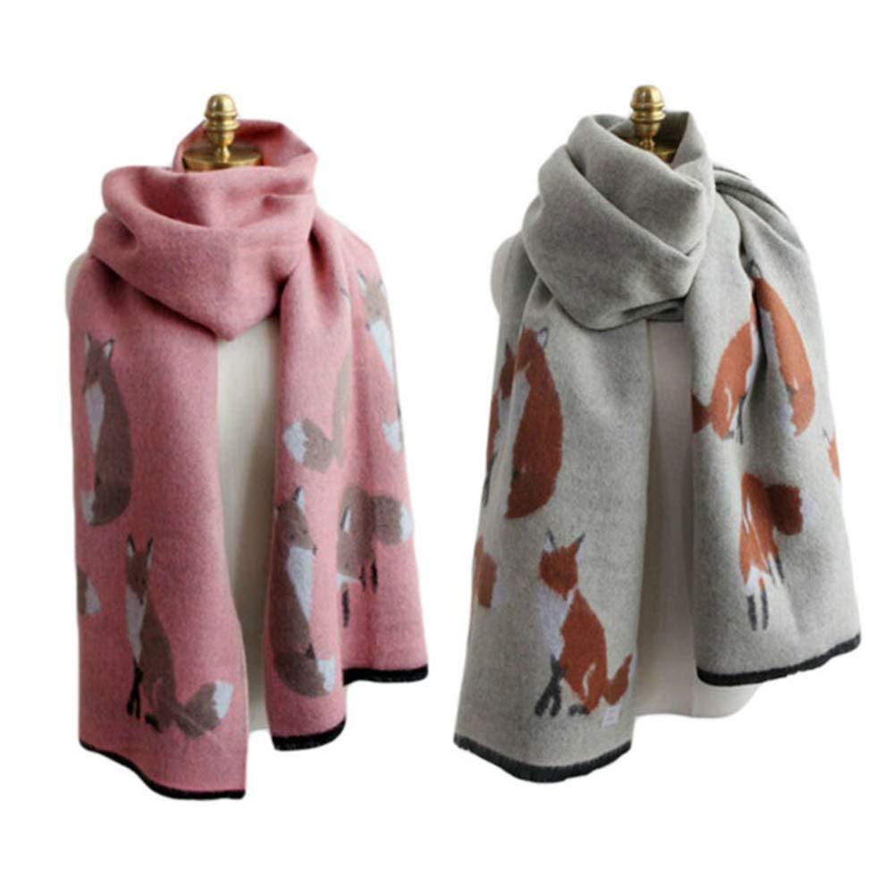 UK_Stone Damen Fuchs Pattern Schal Halstuch Gross Poncho mit Quaste